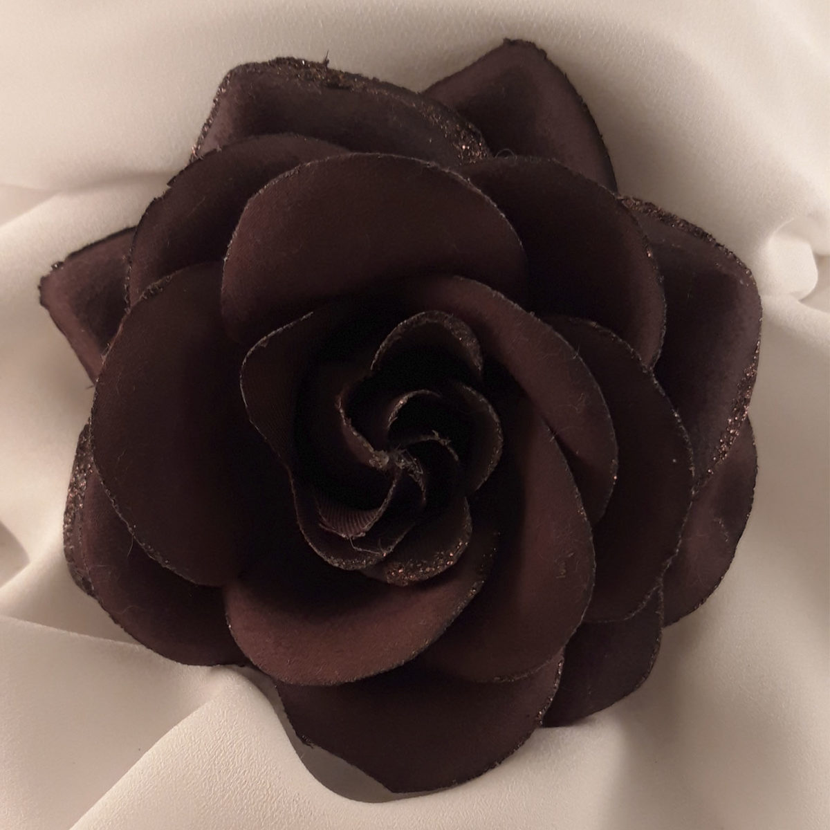 Brown Clothes Flower Brooch