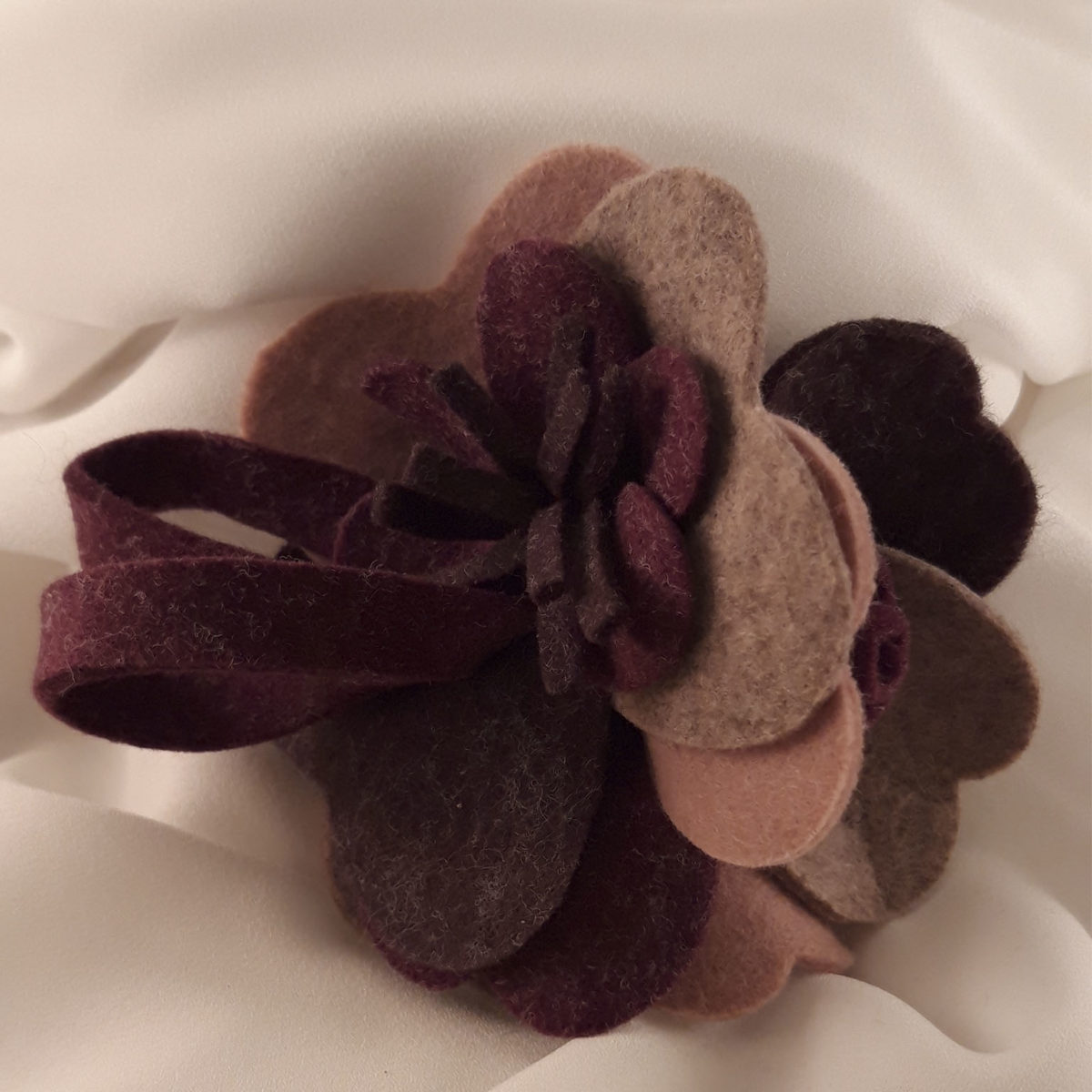 Wool Brooch With Lilac And Pink Petals