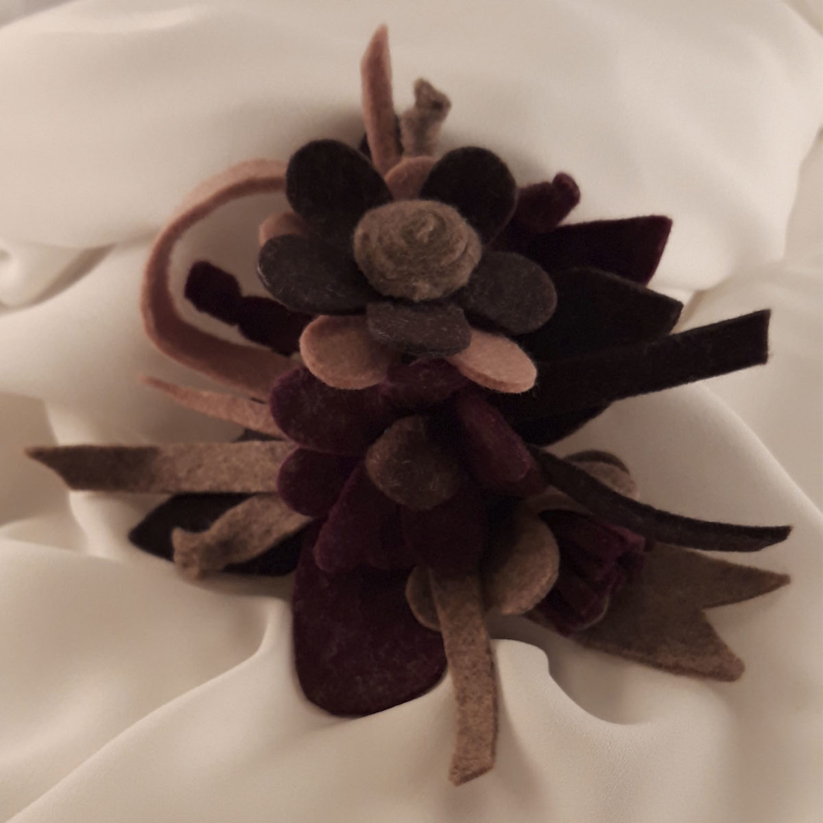 Wool Brooch 2 Lilac And Pink Flowers