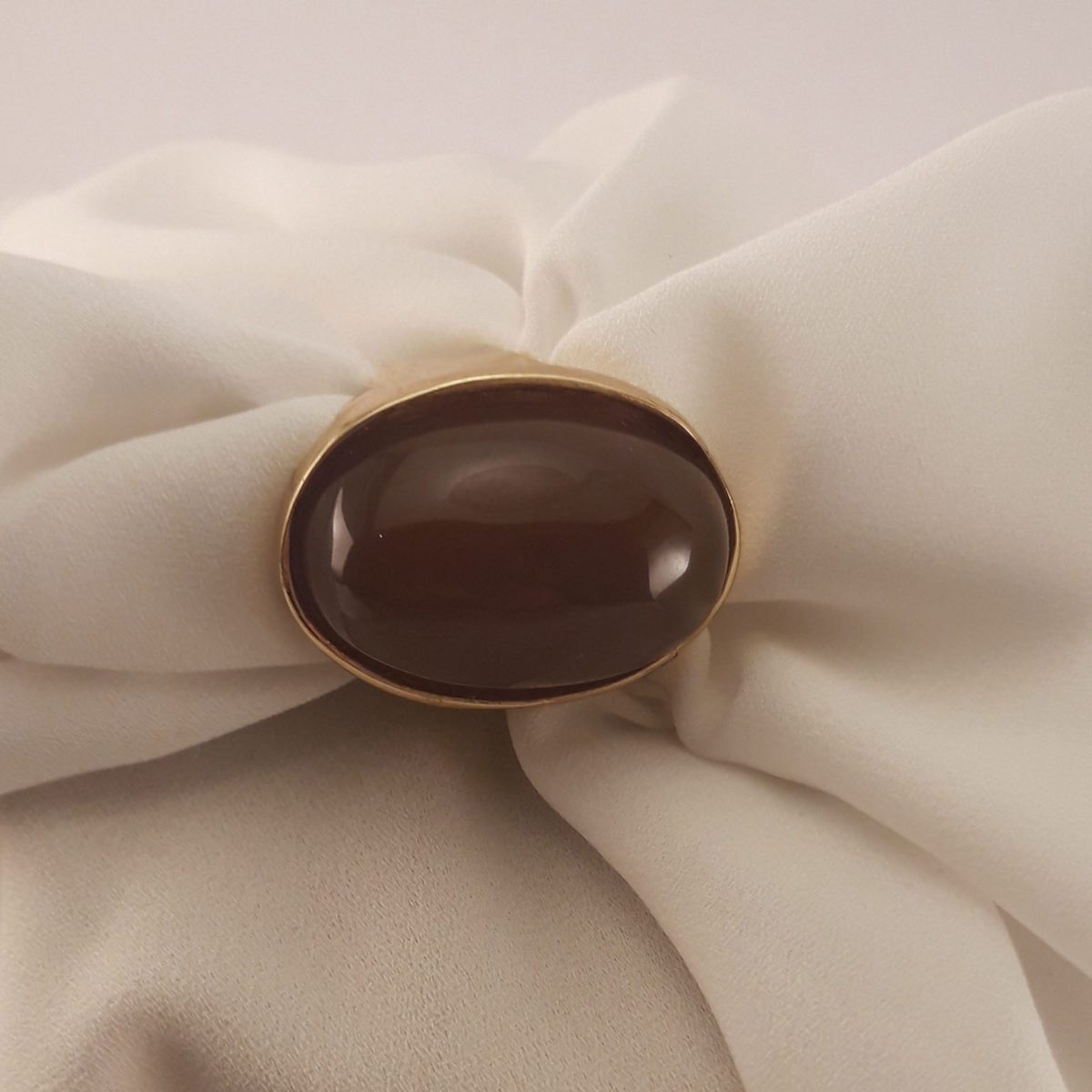 Gold Colored Ring With Brown Oval Stone