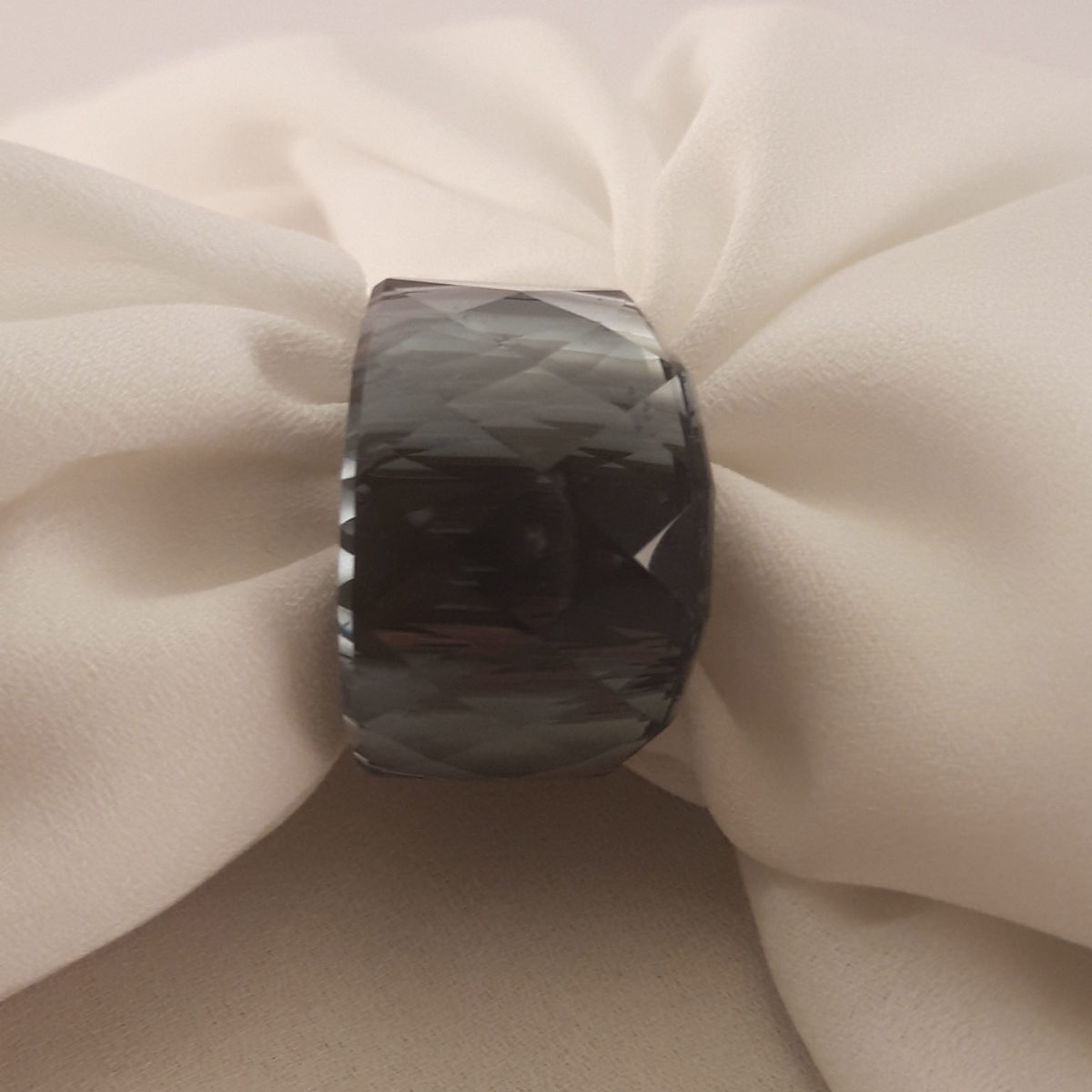 Silver Colored Ring With Carved Gray Stone