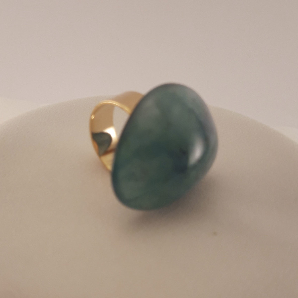 Ring With Green Oval Stone