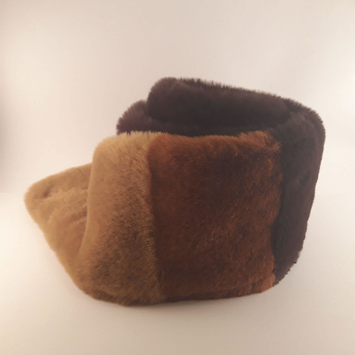 Dark Brown Fur Scarf Combined Tan And Brown