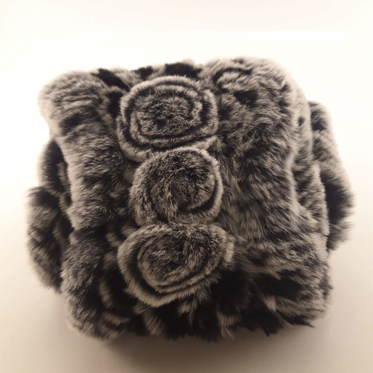 Black And Gray Fur Scarf