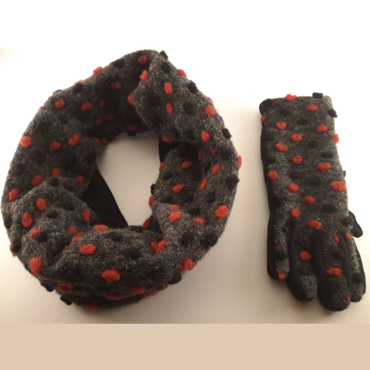 Black Collar And Gloves With Red And Black Polka Dots