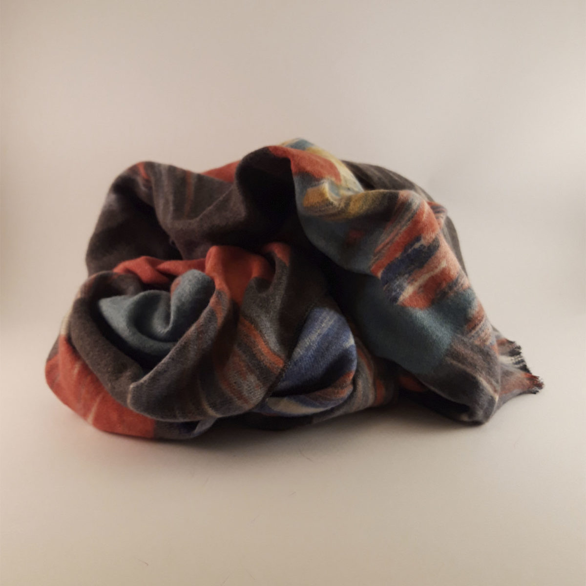 Turquoise Red And Yellow Printed Wool Scarf