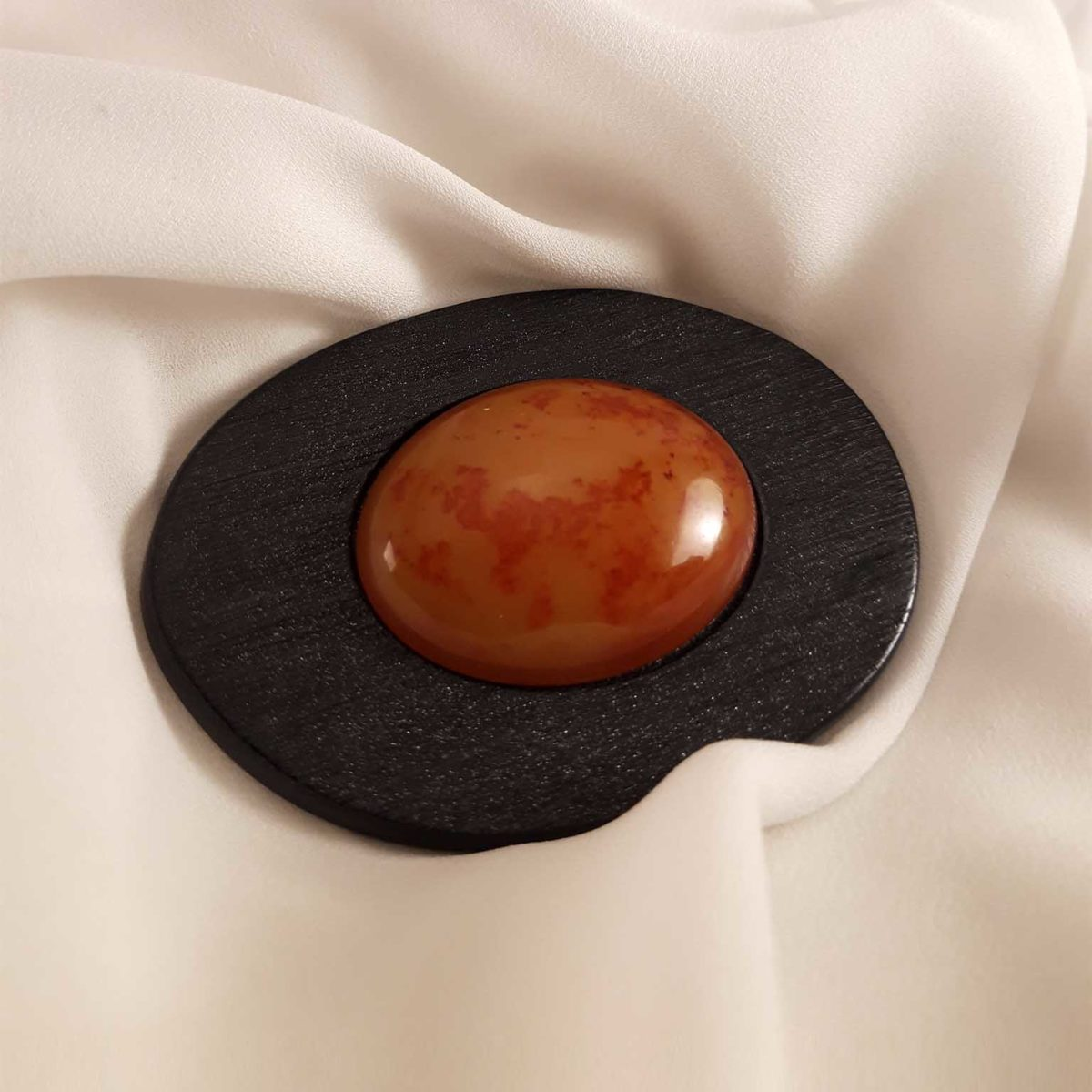 Wooden Chest Needle With An Orange Stone