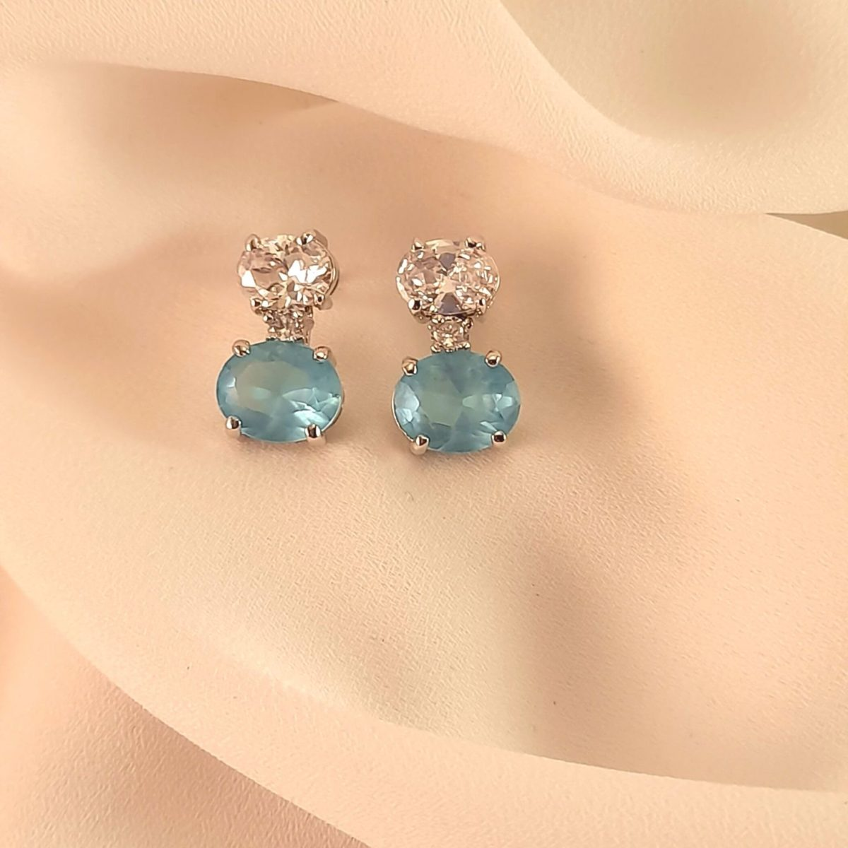 Earrings With Blue And Shiny Stones