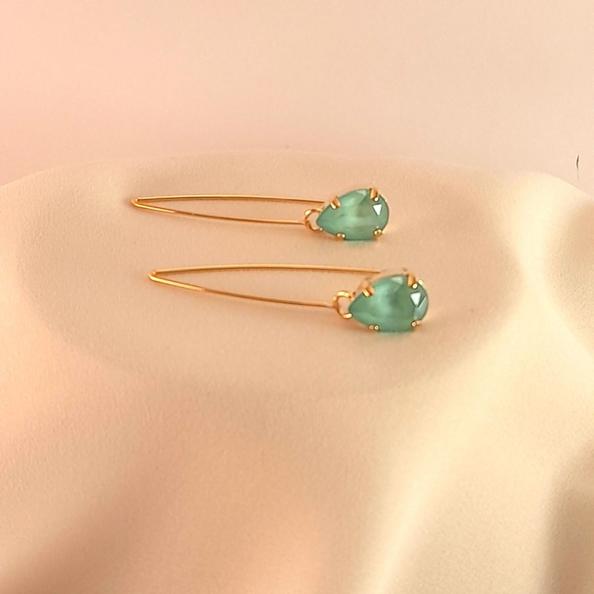 Long Earrings With A Green Stone