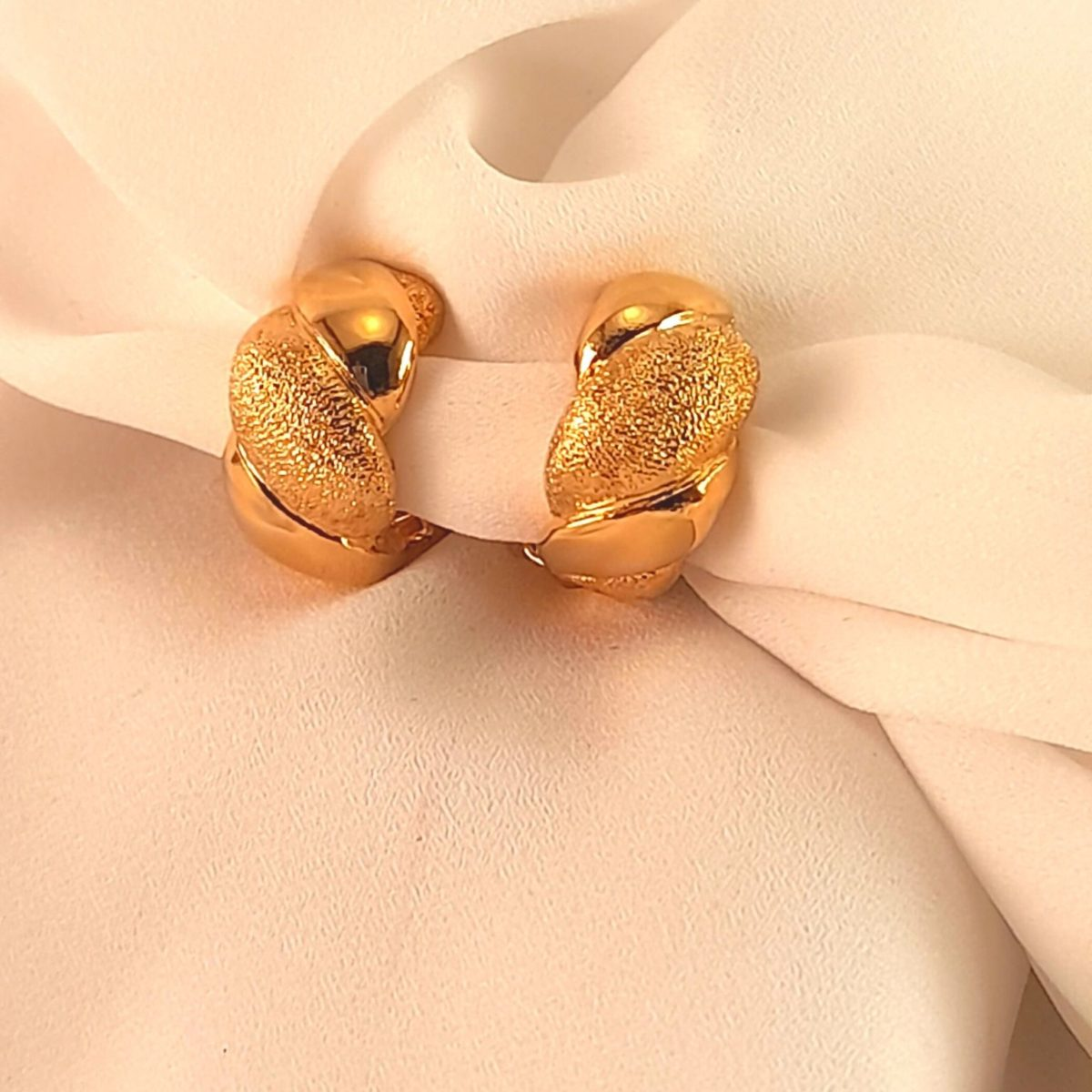 Gold-colored And Engraved Clip-on Earrings