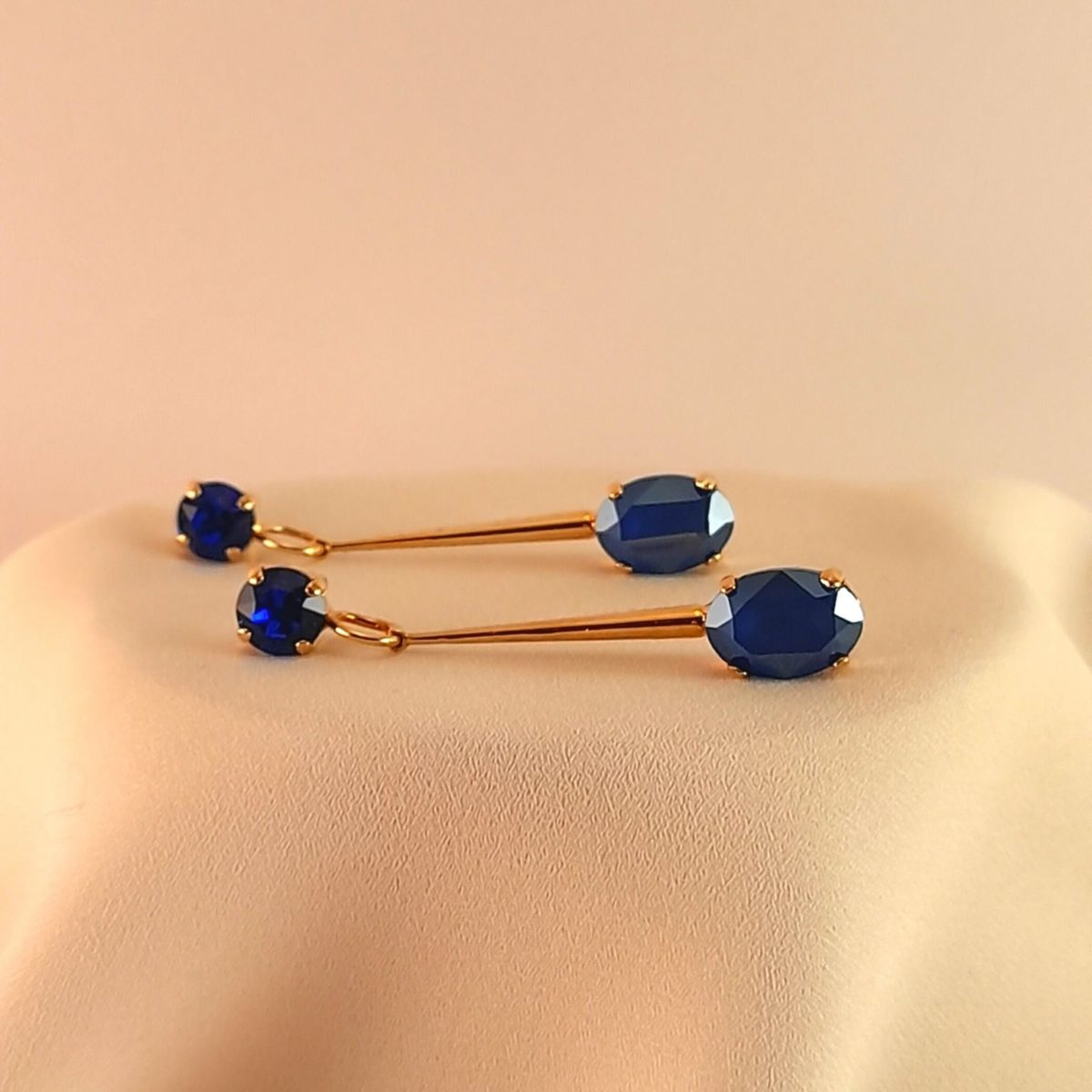 Long Earrings With 2 Blue Colored Stones