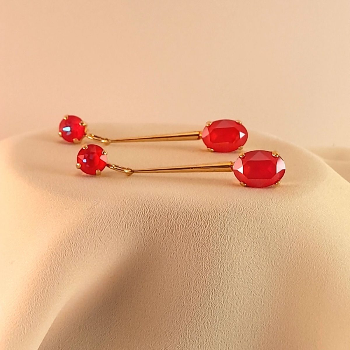 Long Earrings With 2 Red Colored Stones