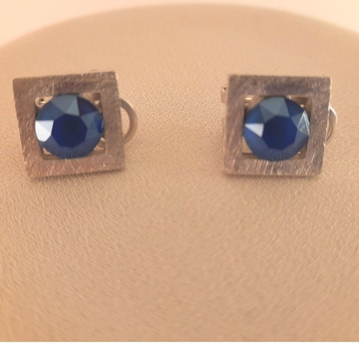 Square And Silver Earrings With Blue Stone