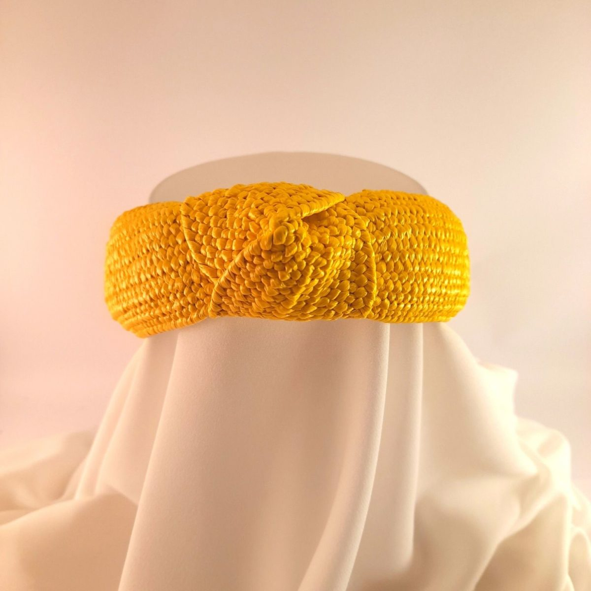 Yellow Straw Headband With A Knot