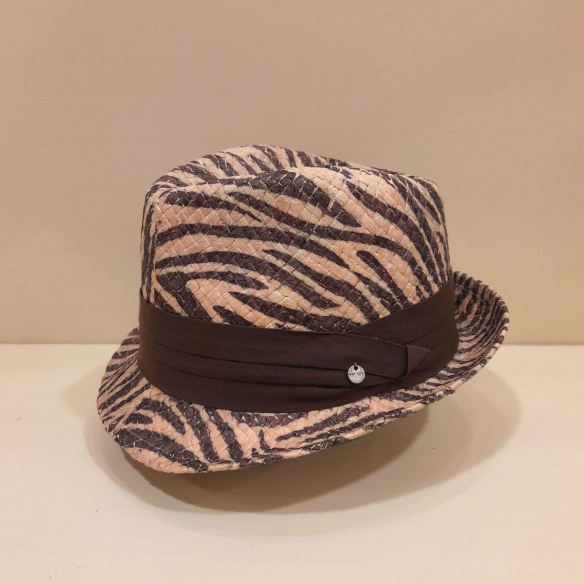 Borsalino Hat With Leopard Print With Brown Ribbon