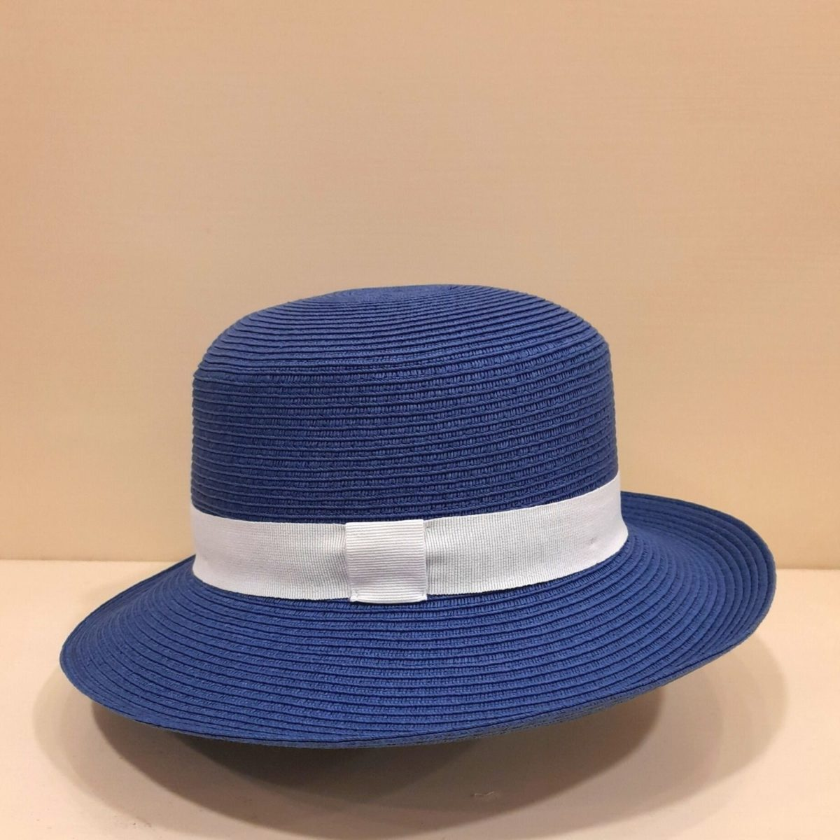 Blue Hat With White Ribbon