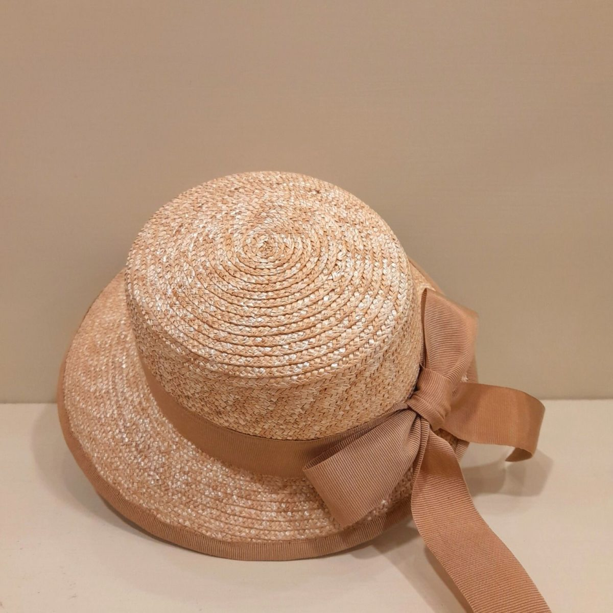 Straw Visor Hat With Beige Bow