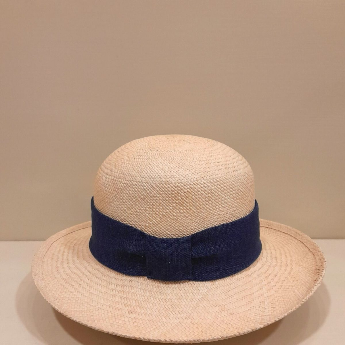 Straw Hat With Wide Navy Blue Ribbon