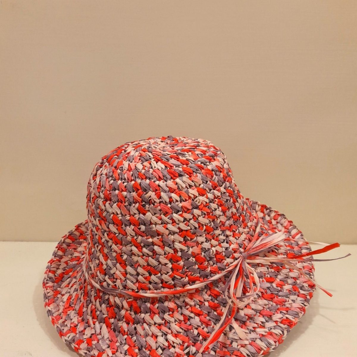 Red And Lilac Straw Hat
