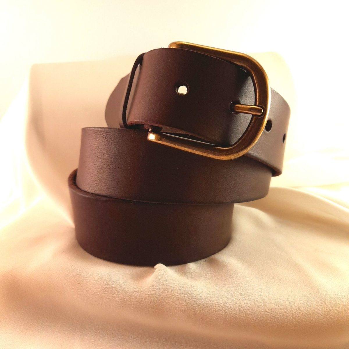Dark Brown Leather Belt With Gold Buckle