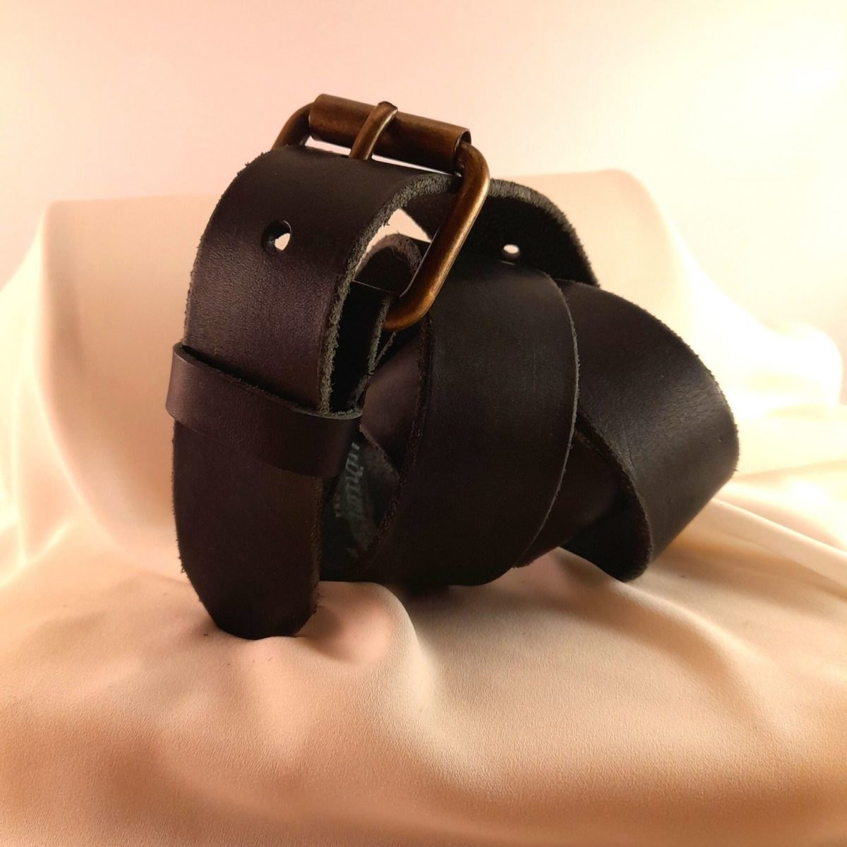 Black Leather Belt With Antique Gold Buckle